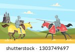 Knights tournament. Medieval chivalry prince in brutal armour helmet warriors on horse vector cartoon background