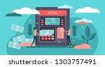 atm cash machine vector... | Shutterstock .eps vector #1303757491