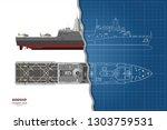 outline blueprint of military... | Shutterstock .eps vector #1303759531