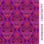 colorful damask pattern with... | Shutterstock . vector #1303769797