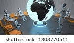 humanoid robots point to india...   Shutterstock . vector #1303770511
