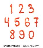 full set of numbers made of the ... | Shutterstock . vector #1303789294