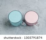 trendy drink  blue and pink... | Shutterstock . vector #1303791874