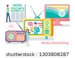 media advertisement vector ... | Shutterstock .eps vector #1303808287