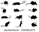 Mice Silhouettes - stock vector