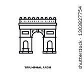 triumphal arch at paris  france ... | Shutterstock .eps vector #1303827754