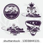 set for go karting emblem. the...   Shutterstock . vector #1303844131