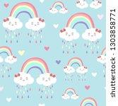 blue kawaii seamless pattern...   Shutterstock .eps vector #1303858771