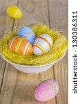 Easter eggs in the nest with great colors and amazing light - stock photo