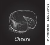 head of cheese hand drawn... | Shutterstock .eps vector #1303865491