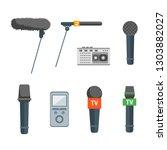 cartoon microphone set press... | Shutterstock .eps vector #1303882027