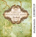 restaurant label design with... | Shutterstock .eps vector #130389119