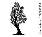 black and white tree silhouette....   Shutterstock .eps vector #1303892134