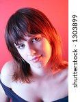 girl on red background | Shutterstock . vector #1303899