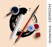 white paper with calligraphy... | Shutterstock .eps vector #1303902244