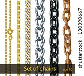 set of chains made of different ... | Shutterstock .eps vector #130390667