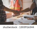 successful deal  male architect ... | Shutterstock . vector #1303916344