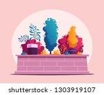 beautiful plants. cartoon... | Shutterstock .eps vector #1303919107