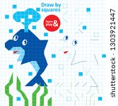 draw squares dolphin kid game... | Shutterstock .eps vector #1303921447