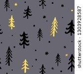 hand drawn christmas background ...   Shutterstock .eps vector #1303928587