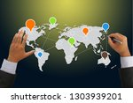 hand drawn point connecting.... | Shutterstock . vector #1303939201
