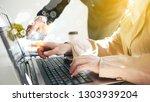 team meeting working new start... | Shutterstock . vector #1303939204