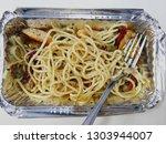 cooked spaghetti on aluminium...