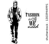 man model dressed in jeans ... | Shutterstock . vector #1303944991