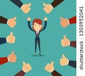 many hands congratulate a... | Shutterstock . vector #1303952041