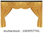yellow luxury curtains and... | Shutterstock .eps vector #1303957741