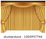 yellow luxury curtains and... | Shutterstock .eps vector #1303957744