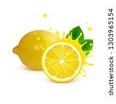 juicy whole lemon and half... | Shutterstock .eps vector #1303965154