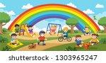 happy excited kids having fun... | Shutterstock .eps vector #1303965247