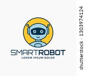 smart robot line logo. colored... | Shutterstock .eps vector #1303974124