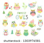Stock vector baby print owl owls set owl with hand drawn elements vector illustration 1303976581