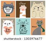 Stock vector set card cute cat 1303976677