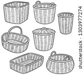 vector set of wicker basket | Shutterstock .eps vector #1303977274