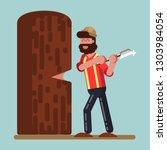 lumberjack chopped down big... | Shutterstock . vector #1303984054