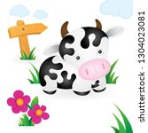 cow. cartoon style drawing cow... | Shutterstock .eps vector #1304023081