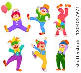 set of cartoon happy clowns in...   Shutterstock .eps vector #1304027971