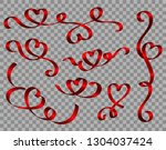 vector realistic red ribbon... | Shutterstock .eps vector #1304037424