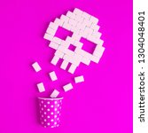 skull made of sugar cubes and... | Shutterstock . vector #1304048401