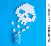 skull made of sugar cubes and... | Shutterstock . vector #1304048407