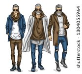 man models with sunglasses ... | Shutterstock . vector #1304055964