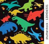pattern dinosaurs dark | Shutterstock .eps vector #130406531