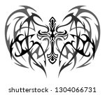 tattoo winged cross on a white... | Shutterstock .eps vector #1304066731