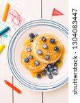 kid's breakfast meal   pancakes ...   Shutterstock . vector #1304083447