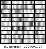 collection of silver  chrome... | Shutterstock .eps vector #1304091724