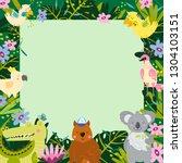 frame border of funny jungle...   Shutterstock .eps vector #1304103151