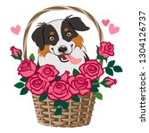 cute smiling herding dog... | Shutterstock .eps vector #1304126737